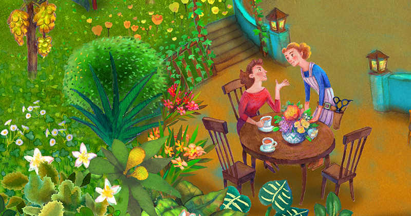 イラスト:森と湖に囲まれたクリーンな美容院で、談笑している様子