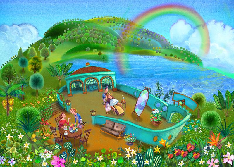 イラスト:森と湖に囲まれたクリーンな美容院